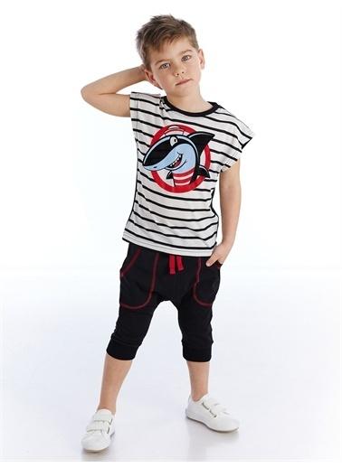Denokids Denizci Çizgili Erkek Çocuk Kapri Takım Renkli